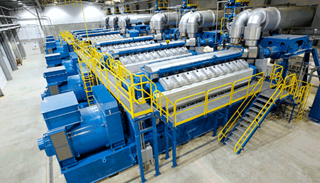 Wärtsilä 34SG engines in the typical modular configuration. Each unit can be operated independently, which ensures reliability and availability at all times.