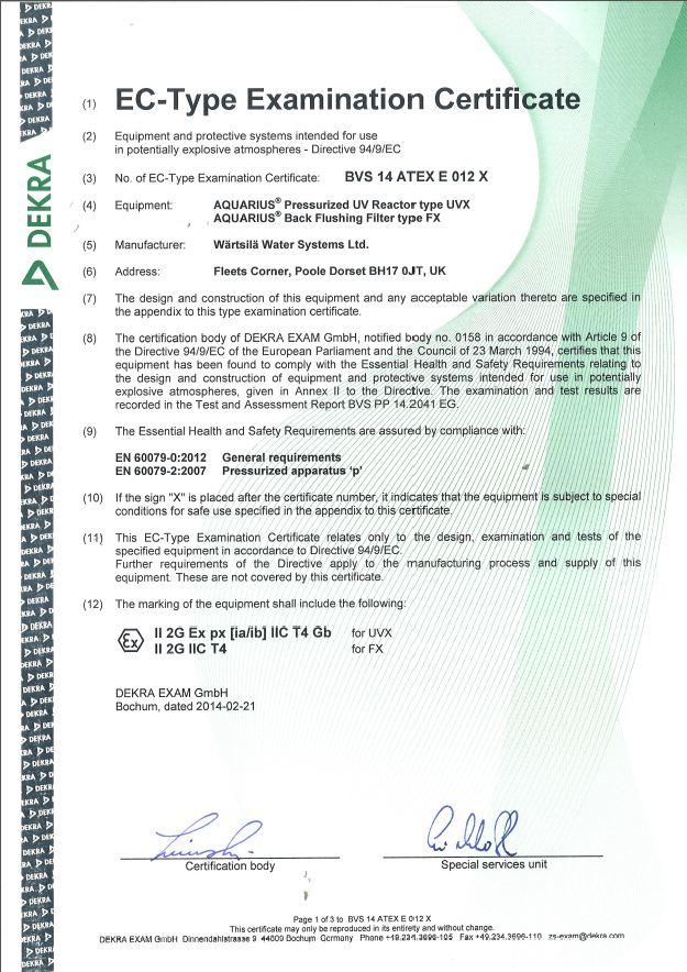 EX certificate