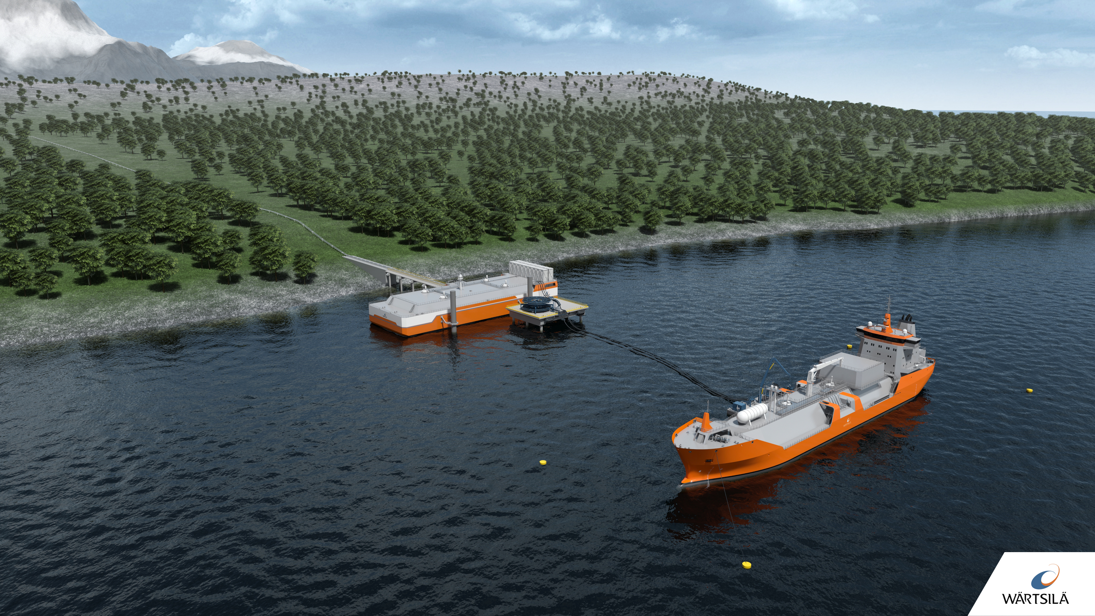 FSRB at shore and LNG connection by floating hoses to barrier
