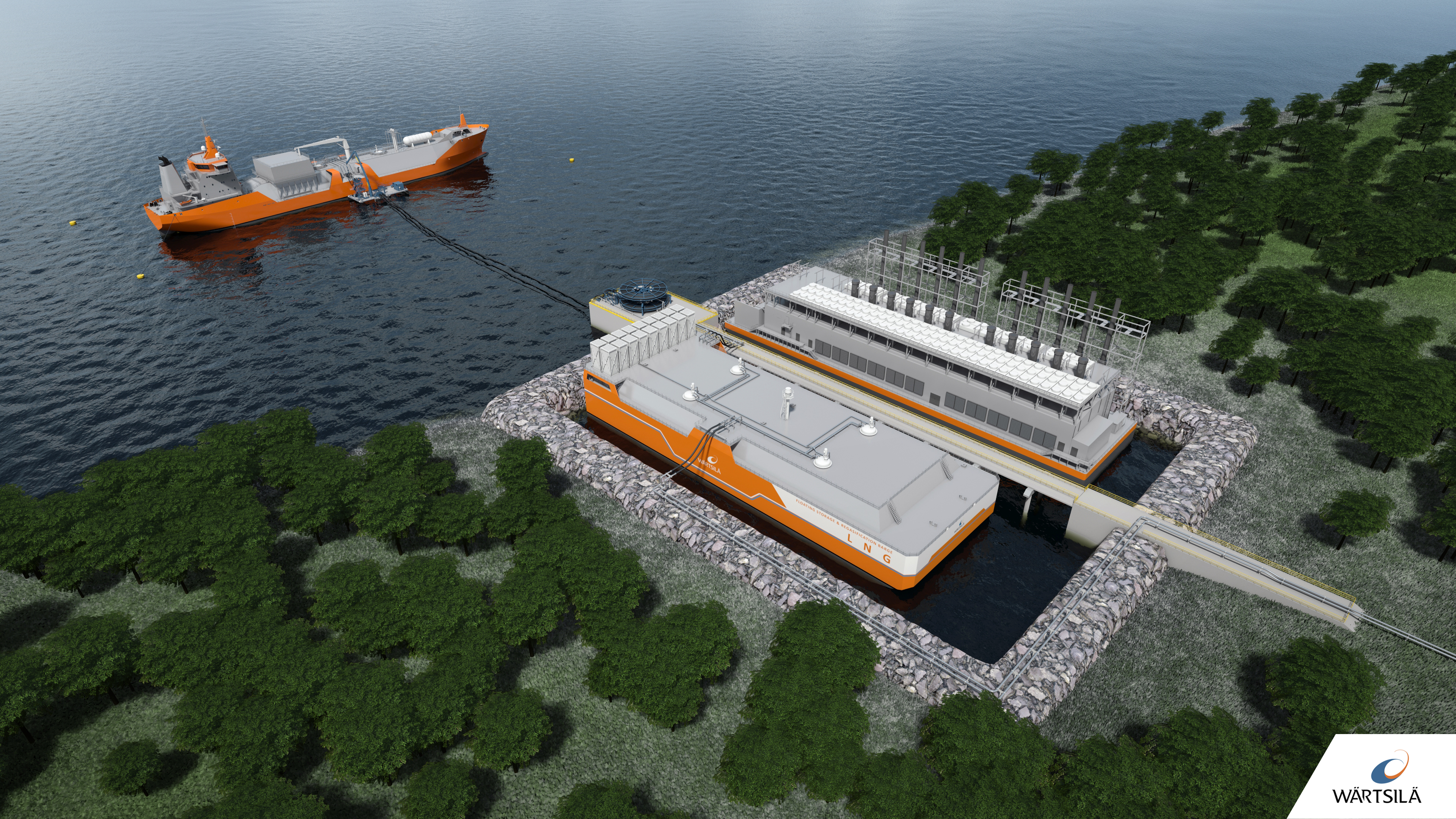 Landlocked barge and LNG connection by floating hoses