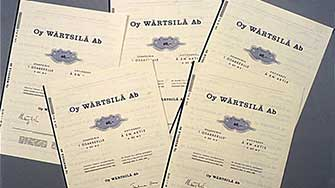 Old Wärtsilä stock certificates