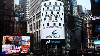 Wärtsilä's listing was acknowledged also in Nasdaq Tower located in Times Square