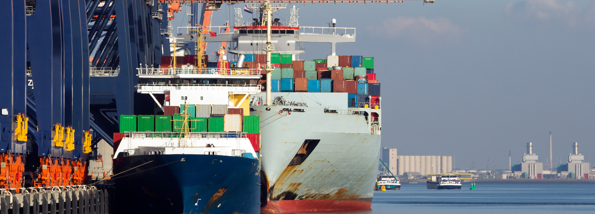 Cargo ships at the port of Rotterdam