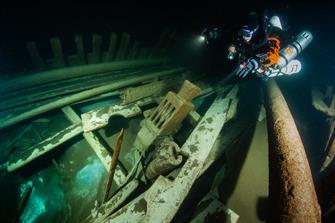 A diver explores the fluty