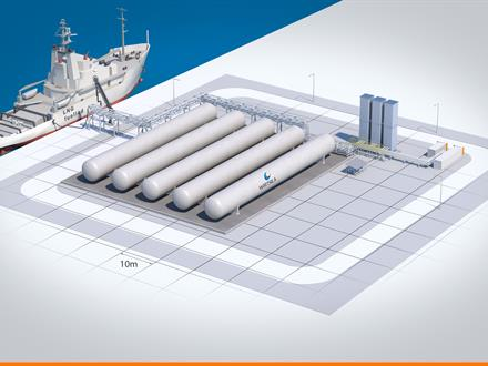 Possible layout for a small-scale LNG terminal in Aruba, capable of regasification and bunkering.