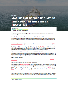 MARINE AND OFFSHORE PLAYING THEIR PART IN THE ENERGY TRANSITION