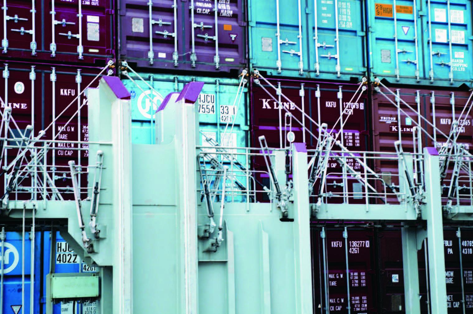 Container lashing equipment, container-securing equipment