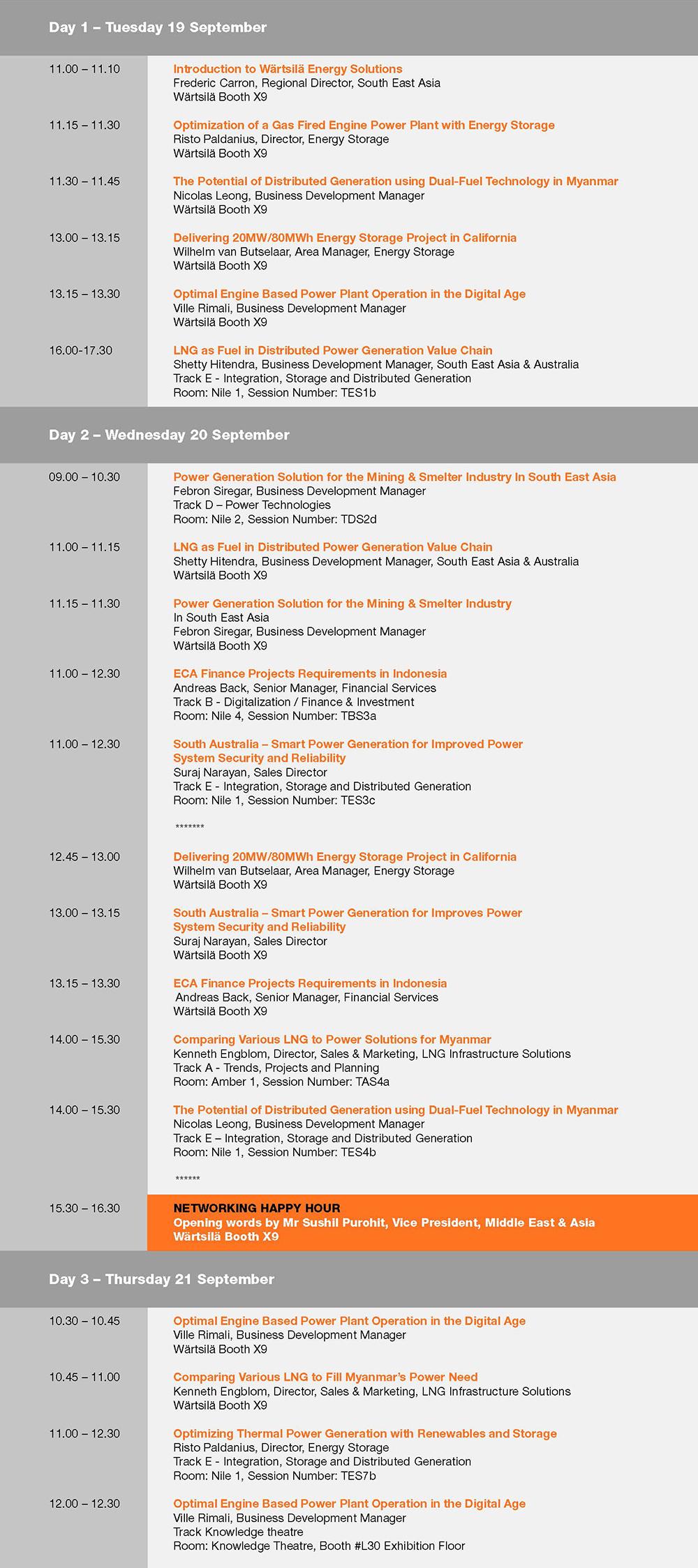 Wärtsilä programme - Asia Power Week 2017