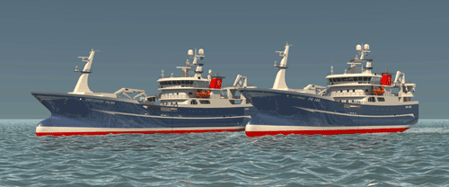 Illustration of the two new fishing vessels for the Scotland based fishing company Lunar Fishing, which will feature Wärtsilä's main propulsion and control equipment.