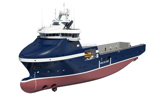 Rendering of Wärtsilä VS 485 Arctic ship design for REM Offshore PSV