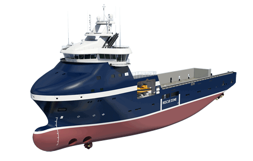 Rendering of Wärtsilä VS 485 Arctic ship design for REM Offshore PSV