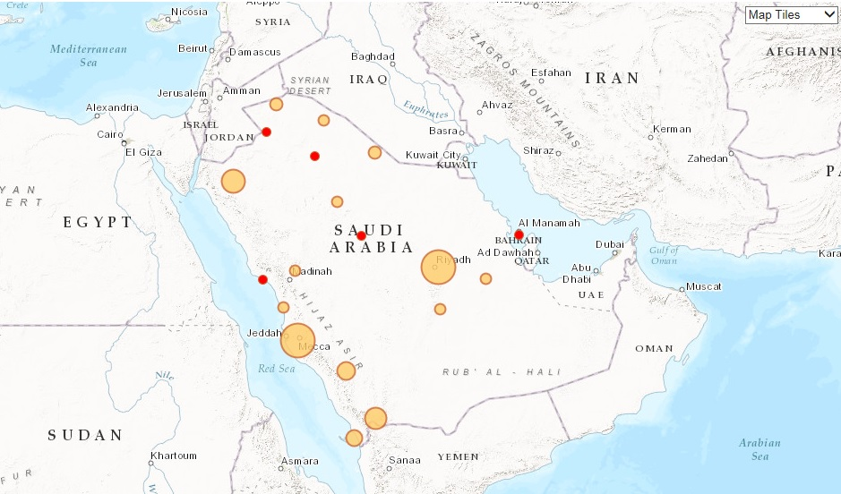 Saudi Arabia power map