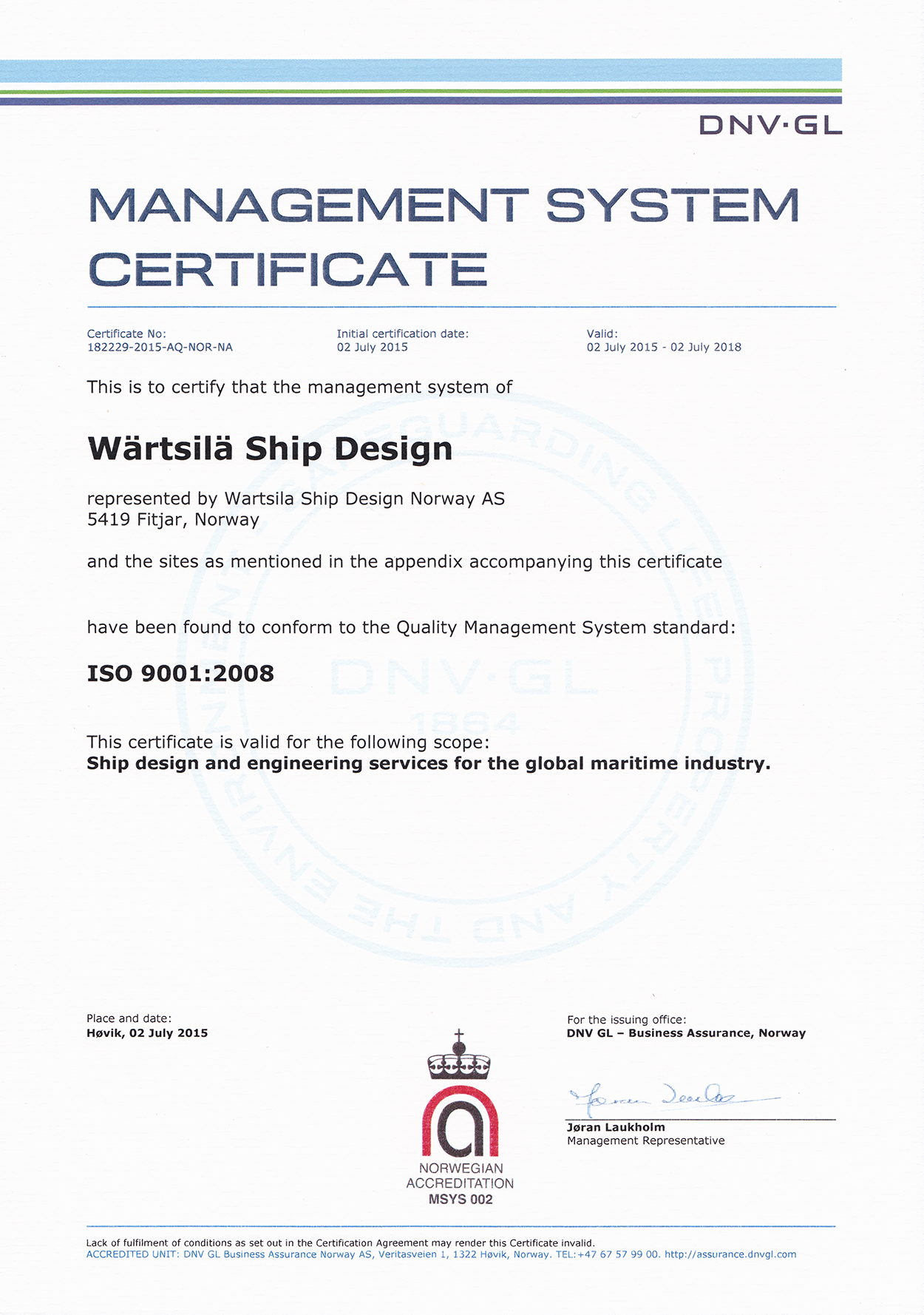 WSD ISO 9001 Certificate