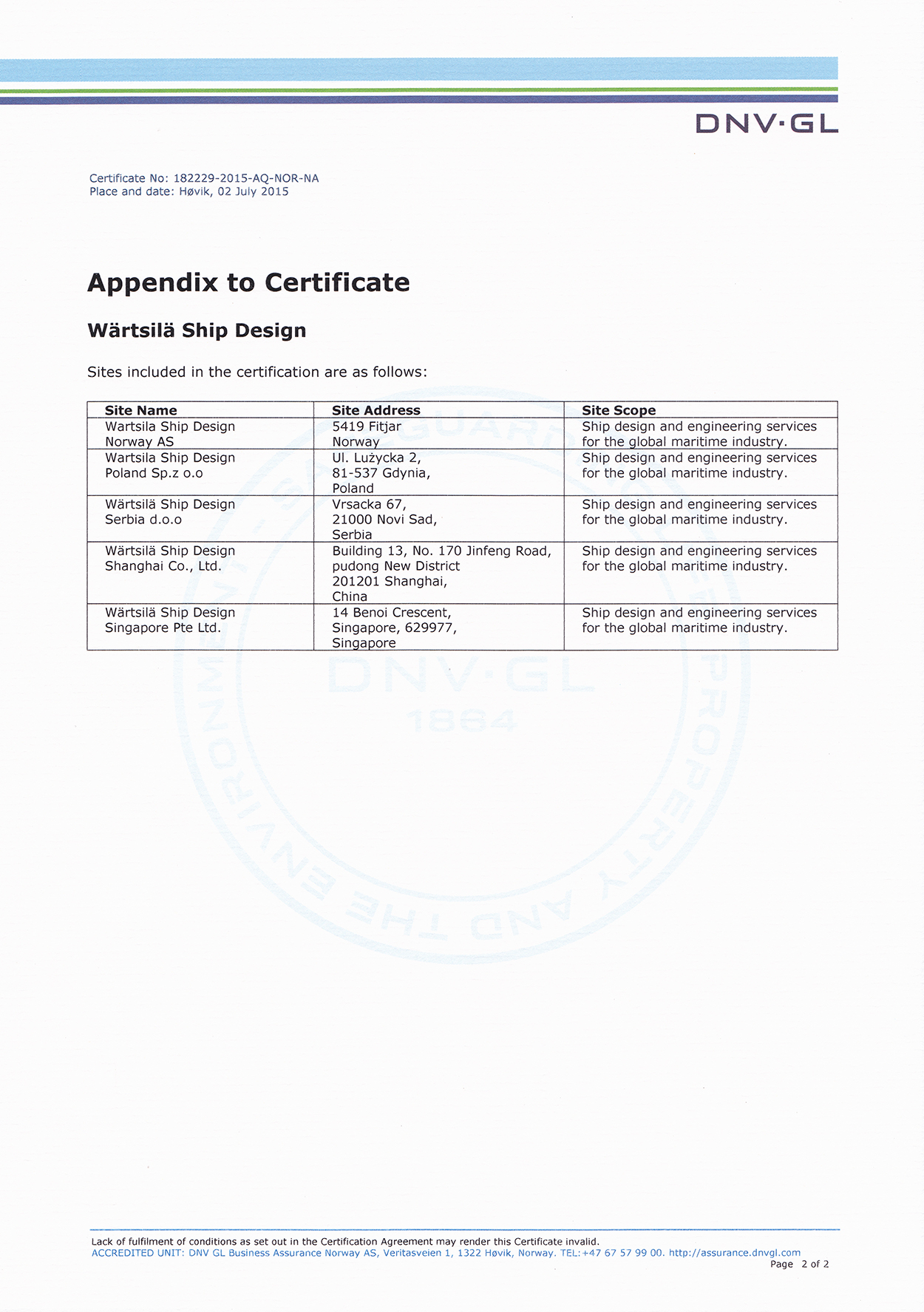 WSD ISO 9001 Certificate - Appendix