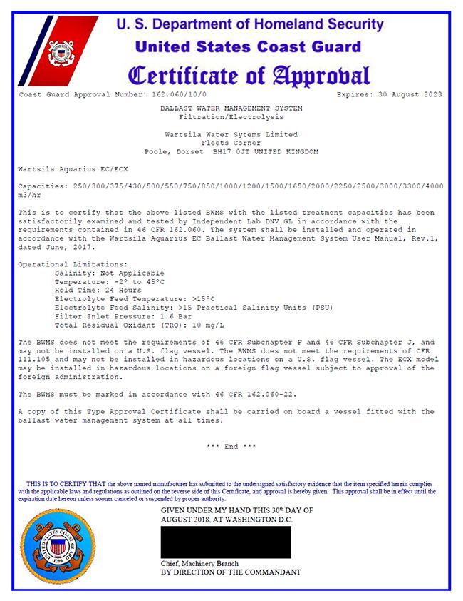 BWMS Aquarius EC AMS approval