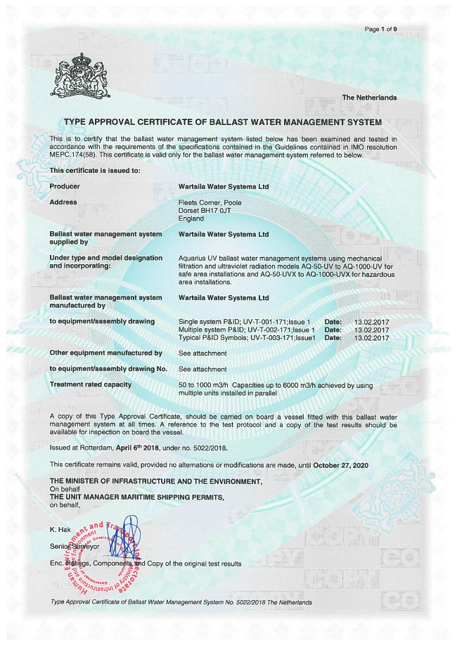 BWMS Aquarius UV TA certificate