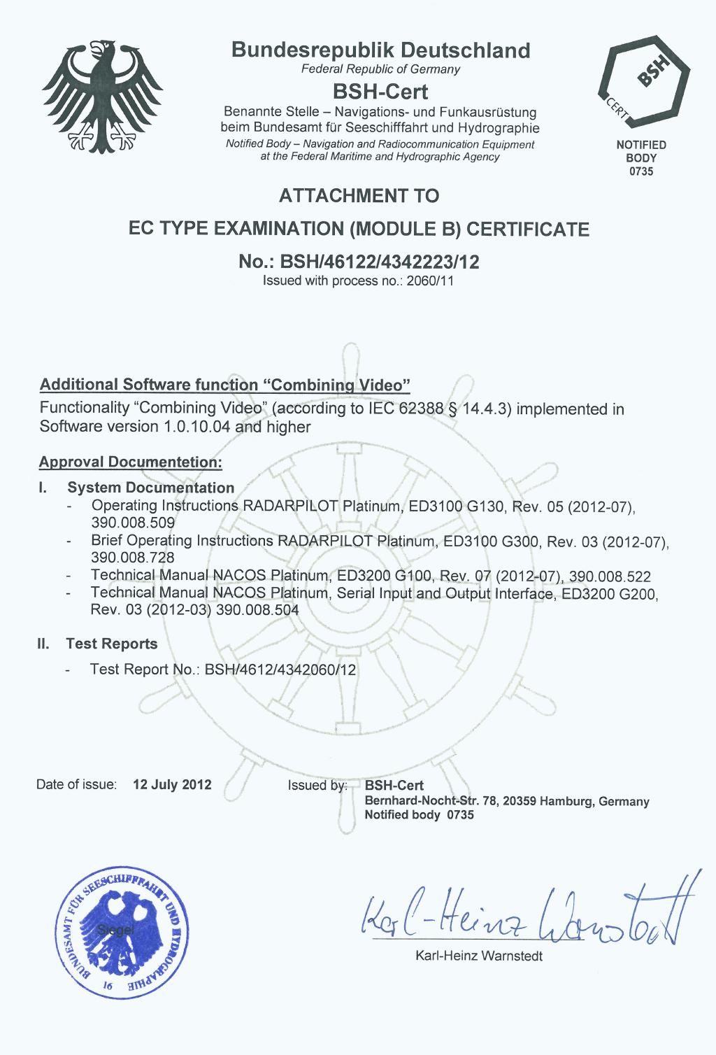 Wärtsilä NACOS RADARPILOT Platinum - Certificate for Radar Merging