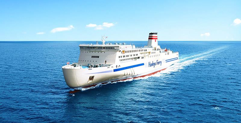 Hankyu Ferry's latest vessel, the 'Settsu' is powered by the uniquely efficient Wärtsilä 31 engine, and has the Wärtsilä hybrid scrubber system for environmental compliance. Copyright: Mitsubishi Shipbuilding yard