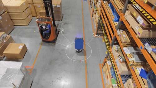 The robots recognise their location and surroundings, thus enabling evasive action to work safely with and around people.