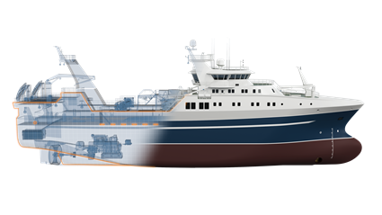The propulsion system of the new stern trawler is based upon the Wärtsilä 31 engine.