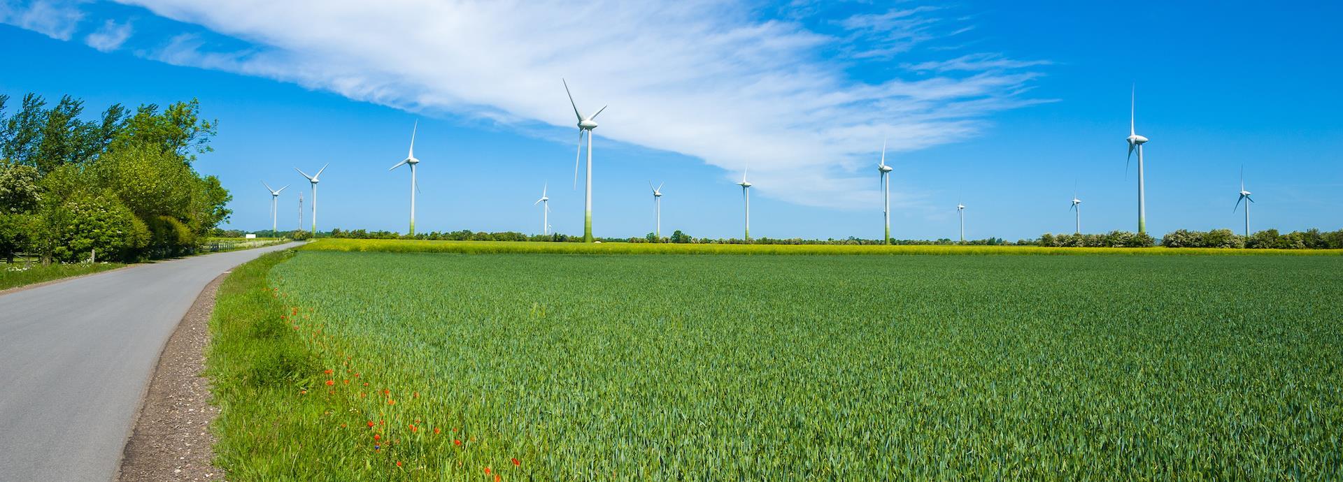 Wind turbines in a field in Europe