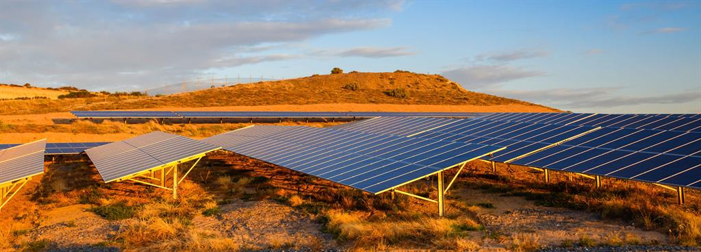 Solar panel farm at sunset located in South Australia