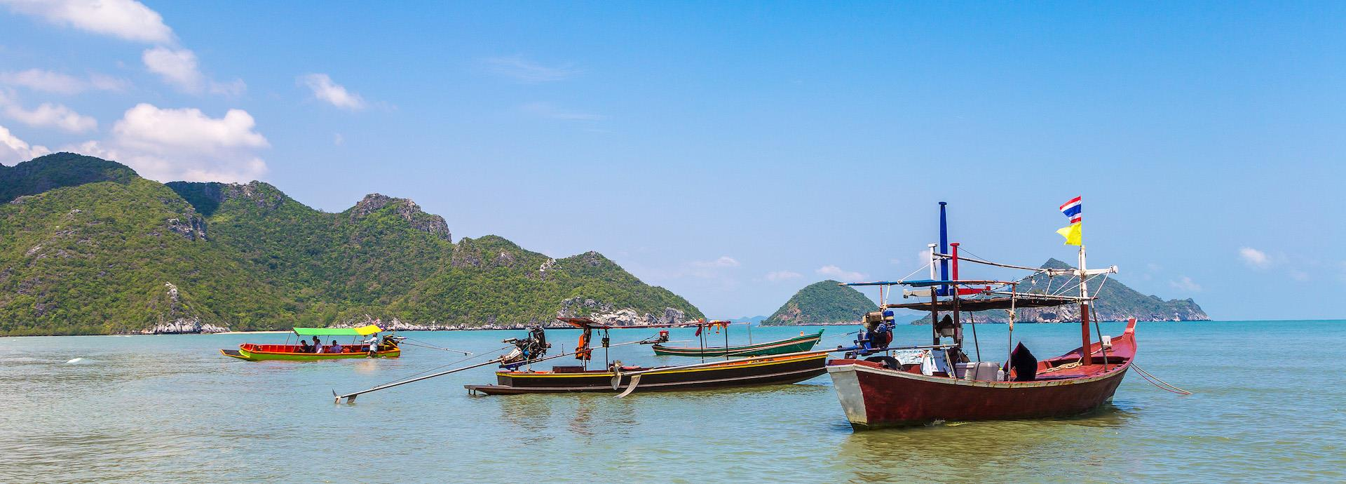 Traditional fishing boats off the coast of Thailand