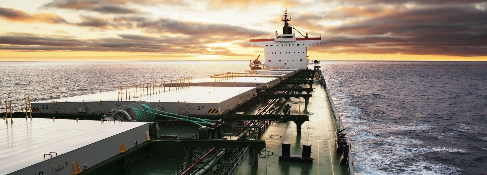 Wärtsilä Fleet Operations Solution (Cargo ship at sea, view from bridge)